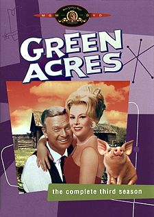 Green Acres is an American television series starring Eddie Albert and Eva Gabor as a couple who move from New York City to a country farm. Produced by Filmways as a sister show to Petticoat Junction, the series was broadcast on CBS from September 15, 1965 through April 27, 1971.