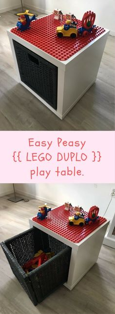 LEGO Duplo play and store box www.n… LEGO Duplo play and store box www.n… LEGO Duplo play and store box www.n… LEGO Duplo play and store box www.n… Craft Table Ikea, Kids Craft Tables, Craft Tables With Storage, Craft Room Tables, Diy Table, Craft Storage, Table Storage, Lego Table Ikea, Storage Ideas