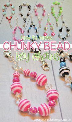 How to make CHUNKY BEAD Key Chain Zipper Pulls - stripes, polka dot, bubblegum beads, gumball beads #fizzypops #mycomputerismycanvas