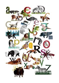 <3 ABC stuff  Animal alphabet with Eric Carle-ish looking illustrations. So pretty :)
