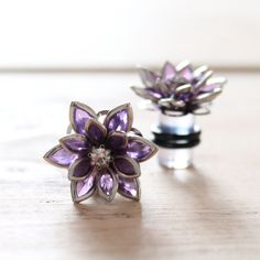 Plugs Size 4g 2g 0g 00g and UP Vintage Inspired Purple Flowers w Rhinestones Custom Gauges for Size 4 2 0 00 Wedding Bridal Bridesmaids. $22.00, via Etsy.