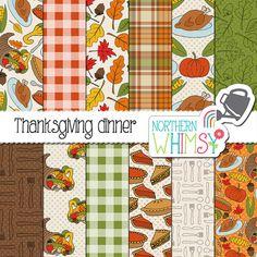 "Fall Digital Paper - ""Thanksgiving Dinner"" - Autumn scrapbook paper with cornucopia, leaves, turkey, pumpkins, corn & pie…"