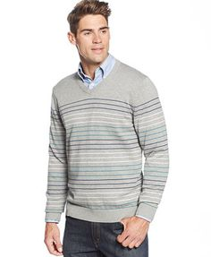 Club Room Big and Tall Striped V-Neck Sweater