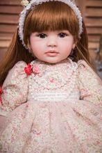 e712c1a1f 60 cm silicona vinilo Reborn Baby Doll 24 pulgadas princesa niño vivo Bebe  acompañar muñeca regalo