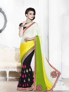 Multi Color Georegette saree with Embroidery Work