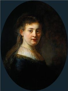 """""""Young Woman in Fantasy Costume. Portrait of a Woman"""", thought to be Rembrandt´s Wife Saskia van Uylenburgh Oil on panel. By Rembrandt Harmenszoon van Rijn. Rembrandt Portrait, Rembrandt Art, Rembrandt Paintings, Leiden, The Jewish Bride, List Of Paintings, Great Works Of Art, Dutch Golden Age, Ecole Art"""