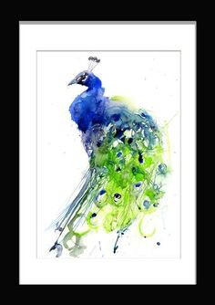 JEN BUCKLEY  signed PRINT of my original PEACOCK watercolour