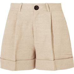 Totême Tanzania linen and cotton-blend shorts ($245) ❤ liked on Polyvore featuring shorts, bottoms, short, beige, woven shorts, cotton blend shorts, cuffed shorts, short shorts and mid rise shorts