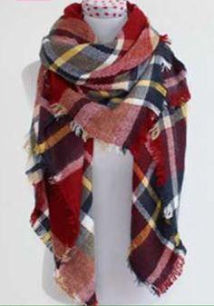 Blanket scarf shawl -red, blue, yellow tartan plaid