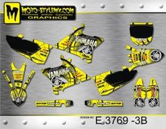 Yellow and black full graphics kit for Yamaha YZ 250 - including black number plate backgrounds Yamaha Yz 125, Custom Design, Decals, Graphics, Bespoke Design, Tags, Charts, Graphic Design, Decal