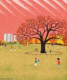 """武政 諒 Ryo Takemasa - born 1981 Japan - cover illustration for quarterly magazine """"Musashino"""", autumn of 2014 issue"""