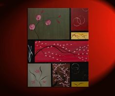 Large Asian Painting Zen Orchids Blossoms Wheat and Circles Warm Colors Original Art on Stretched Canvas Custom 36x48 Greens Reds Browns. $425.00, via Etsy.