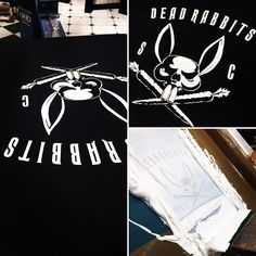 Dead Rabbits SC screenprinted garments! Some fantastic artwork on this logo! #scooter #scooterclub #screenprinting #rabbit