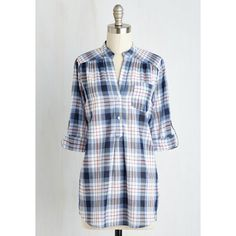Americana Long 3 Country Cookout Top ($45) ❤ liked on Polyvore featuring tops, apparel, blue, woven top, long shirts, america shirt, long plaid shirt and plaid woven shirt