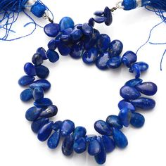 96 Carets 7 Inch Full Strand Lapis Lazuli Smooth by JAIPURGEMBEADS
