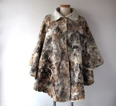 Women Poncho beige wool Cape Felted poncho Natural  by galafilc