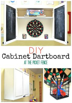 DIY Kitchen Cupboard turned Dartboard Cabinet - At The Picket Fence Diy Kitchen Cupboards, Diy Cabinets, Dart Board Cabinet, Man Shed, Wooden Train, Woman Cave, Man Cave Garage, Game Room, Home Projects