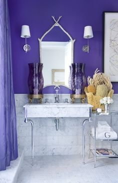 Lavender walls in vintage inspired bathroom. belle maison ... on fuschia bathroom designs, mahogany bathroom designs, white on white bathroom designs, dragon bathroom designs, hot pink bathroom designs, mauve bathroom designs, sage bathroom designs, light green bathroom designs, black bathroom designs, relaxing spa bathroom designs, blue and yellow bathroom designs, dark wood bathroom designs, hunter green bathroom designs, light yellow bathroom designs, lavender storage, magnolia bathroom designs, lavender decor, chocolate bathroom designs, navy bathroom designs, grey bathroom designs,