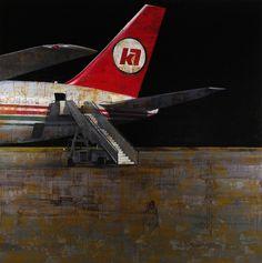 "Francois Bard, Le discours de Kinshasa, 2012, Oil on Canvas, 76¾""  x 76¾""  #art #airplane #bdg"