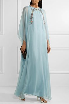 Sky-blue silk-chiffon Concealed hook and zip fastening at back 100% silk Dry clean