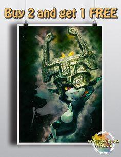 Legend of Zelda Poster Princess Zelda Link by WatercolorWalls