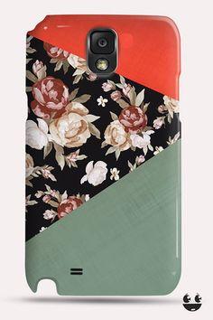 Floral Pattern, Orange & Dark Green Monogram Note 4 Case, Galaxy Note 3 Case, Galaxy Note 2 Case, Galaxy Note 1