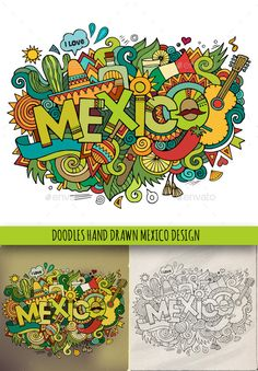 Buy 3 Mexico Doodles by balabolka on GraphicRiver. Mexico hand lettering and doodles elements background. ZIP archive contains 3 vector . Mexico Art, Mexico Flag, Mexico Culture, Doodle Designs, Thinking Day, Mexican Folk Art, Art Sketchbook, Graphic Design Illustration, Doodle Art