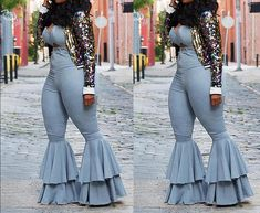 """All That Jazz"" Classic Bell Pants Set - Modern New Outfits, Stylish Outfits, Dress Outfits, Girl Outfits, Fashion Outfits, Fashion Trends, Maxi Dresses, Dress Fashion, Thick Girl Fashion"