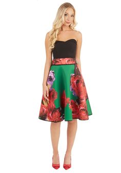 Boldness in Bloom Skirt. You've always been drawn to true style statements like this emerald skirt! #multi #modcloth
