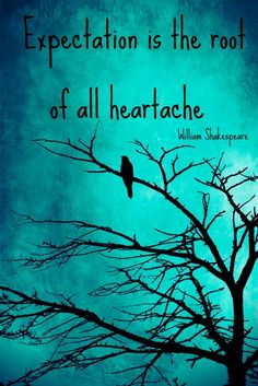 """Expectation is the root of all heartache."""