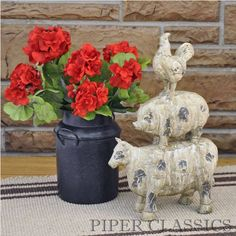 """Fresh from the garden! Beautifully realistic red Geranium Bush, brimming with blooms, will add bright color and cheer to your home. 14"""" high; 7 blooms on each bush. #country #decor #artificial #spring #flowers"""