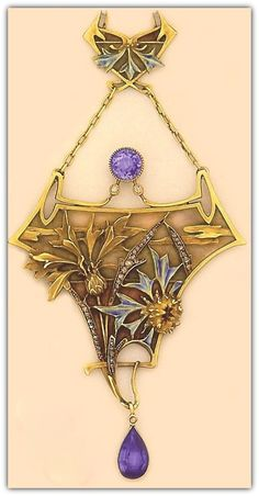 Lucien Gautrait - Art Nouveau Necklace. Plique-à-jour enamel, enamel, sapphire, and carved gold flora necklace.
