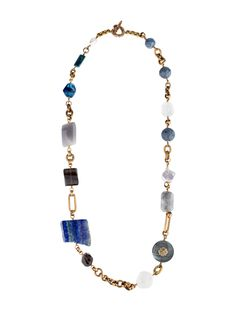 Bronze Stephen Dweck link necklace with coral beads, cultured pearls, lapis lazuli stones, topaz, agate, and toggle closure. Includes tags.  $195