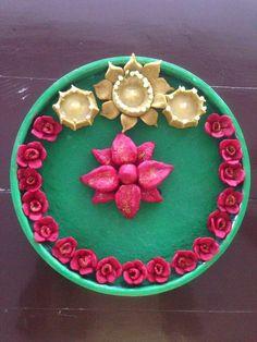 #Ganesh aarti decoration combo floral# Arti Thali Decoration, Ganpati Decoration Design, Ganapati Decoration, Diy Diwali Decorations, Festival Decorations, Handmade Decorations, Ganesh Chaturthi Decoration, Diy Wall Painting, Diwali Diy