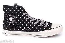 CONVERSE High Top BLACK SUEDE LEATHER SILVER POLKA DOT
