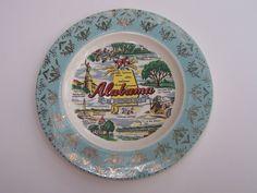 Vintage Souvenir State Plate  Alabama by bountyhuntress on Etsy, $14.99