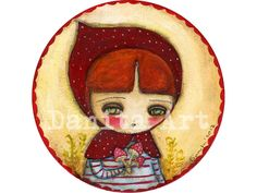 Little Red Riding Hood - Giclee Reproduction from Original Mixed Media Collage Painting By Danita Art - (8x8 INCHES) on Etsy, $15.00