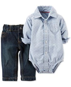 Carter's Baby Boys' 2-Piece Collared Bodysuit & Pants Set - Kids & Baby   I'm sure you can purchase anywhere that carries Carter's baby clothes...not just macy's