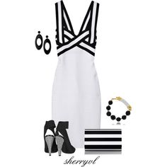 Black And White With Houndstooth by sherryvl on Polyvore