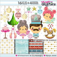 Nutcracker clipart, nutcracker graphics, commercial use set for all you h . Planner Stickers, Printable Stickers, Sweet Party, Mermaid Clipart, Baby Posters, Kawaii Diy, Cup Art, Dibujos Cute, Christmas Love