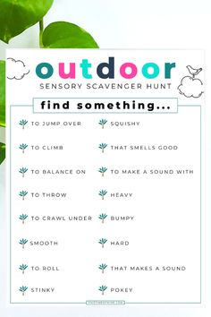 Got wiggly kids? Get them outside and moving with this simple and fun Outdoor Sensory Scavenger Hunt Printable that can be used again and again! Activities for kids Backyard Scavenger Hunts, Preschool Scavenger Hunt, Nature Scavenger Hunts, Photo Scavenger Hunt, School Scavenger Hunts, Toddler Scavenger Hunt, Outdoor Activities For Kids, Nature Activities, Outdoor Learning