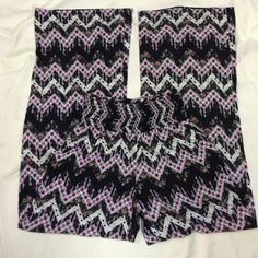 """Palazzo pants Patterned palazzo pants! Perfect for festival season! Stretchy high waisted, and super light - these pants will be your go-to! Size S. Approx measurements flat: waist min 12"""" stretches to 19"""" max, total length 41.5"""", inseam 32"""", leg opening at hem 11.5"""", rise from front of waist to center of crotch 10.5"""". Super light weight and comfy! 96% polyester, 4% spandex. Black base w/ pinky-purple/cream/orange pattern. Offers welcome! Please ask any questions prior to purchasing. Thank…"""