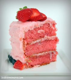 Fresh Strawberry Cake. I make something like this only I use strawberry cake. Then frost with cool whip adding slices of bananas between layers and strawberries on top.