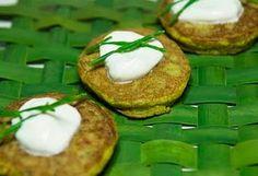Cattail Flower Griddle Cakes :: eggs, milk, flour baking powder, cattail flower spike pulp, glasswort, S sour cream.