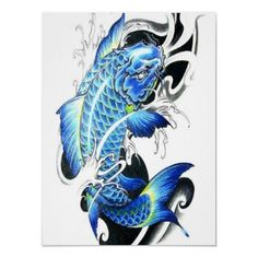 THIS ONE!!! Definitely this one. Same color scheme too. blue koi tattoo | Cool Japanese BLue Koi Fish Poster from Zazzle.com