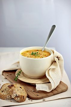 #foodphotography make a boring bowl of soup look interesting with spices, cloth and a few boards!