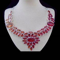 Granatquarz, rot - orange, Farbverlauf, Halskette, Collier, Silber plattiert in Uhren & Schmuck, Modeschmuck, Halsketten & Anhänger | eBay