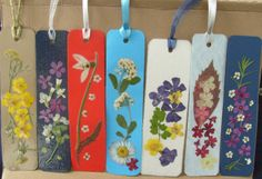 pressed flowers bookmarks