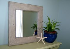 Check out Distressed Framed Mirror, Shabby Chic Mirror, Rustic Wood Mirror. Wood Pallet Mirror, Cottage Chic Mirror on pineterracetreasures