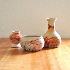 set of three nemadji pottery vases